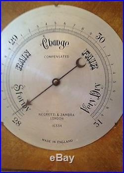 Antique Negretti & Zambra Barometer Wood Case England Working Old