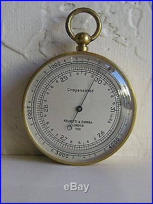 Antique Negretti & Zambra London 750 Pocket Barometer & Altimeter Leather Case