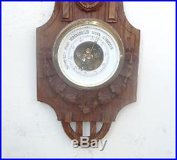 Antique Oak Wood Black Forest Style Carved Barometer & Thermometer