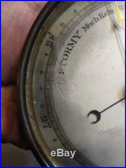 Antique Old Brass Barometer Weather Instrument Scientific