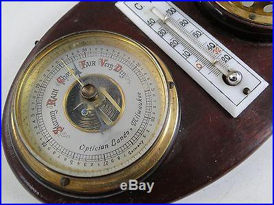 Antique Optician Lando Milwaukee WI Wall Thermometer Hygrometer Barometer German