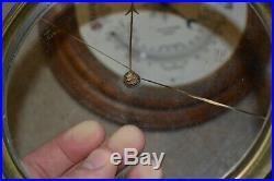 Antique PILLISCHER LONDON Brass Wooden Dial Temperature Barometer 9.5 inch Wall