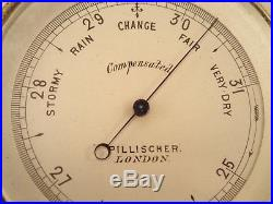 Antique PILLISCHER, LONDON Gentleman's Brass Pocket Barometer, 1850 1920