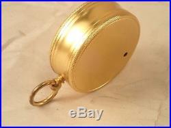Antique PILLISCHER, LONDON Gentlemen's Gilt Brass Cased Pocket Aneroid Barometer