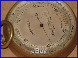 Antique POCKET BAROMETER ALTIMETER Joseph C Ferguson Philadelphia ENGLAND RARE
