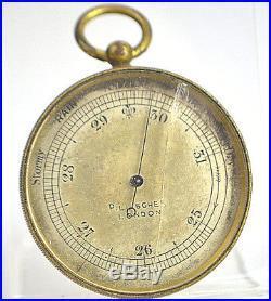 Antique Pillisher London Victorian Pocket Barometer Leather Box Gilt Case