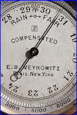 Antique Pocket Barometer 1895 Meyrowitz Paris New York. In case Science Engineer