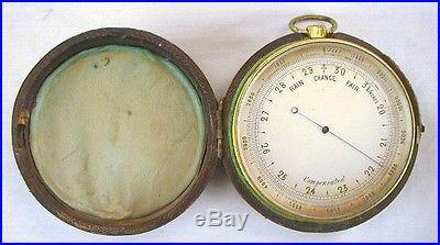 Antique Pocket Barometer Altimeter Compensated Science Weather Gauge with Case
