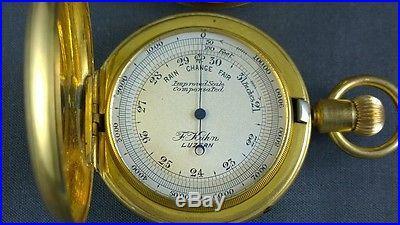 Antique Pocket Barometer Compass Set Boxed Swiss F. Kuhn Luzern MOP
