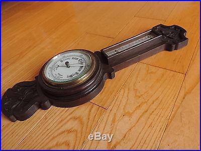 Antique Porcelain Face Made In England Carved Wood Banjo Barometer Thermometer