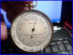 Antique Rare Pinkham Smith Company Compensated Pocket Barometer Altimeter Englan