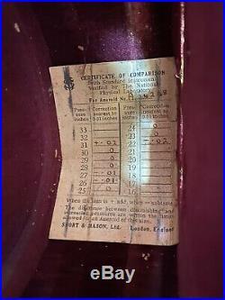 Antique SHORT & MASON Surveying Aneroid Barometer London, England withLeather Case