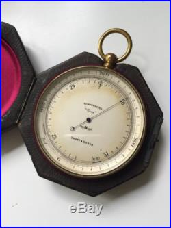 Antique Short & Mason Barometer In Original Leather Case