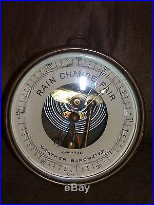 Antique Short & Mason Brass Weather Barometer Tycos Nautical Hanging WORKS