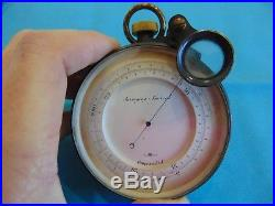 Antique Short Mason London Aneroid Barometer 3 inch with original Leather Case