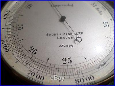 Antique Short & Mason Ltd Surveying/Aeronautic Barometer Original Leather Case