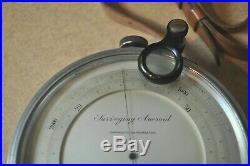 Antique Short Mason Surveying Aneroid Barometer with Leather Case Nice