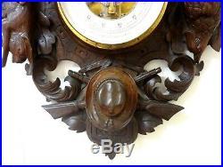 Antique & Superb 27´´ French Carved Black Forest Wood Weather Station Hunter