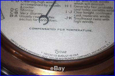 Antique Taylor Pendant Stormoguide Tycos Instruments Barometer 1914 NO RESERVE