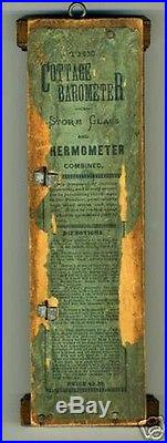 Antique The Cottage barometer or storm glass and Thermometer Combined