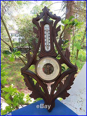 Antique Veranderlich Berlin German carved Black Forest Aneroid Banjo Barometer