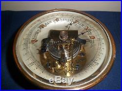 Antique Victorian Era Barometer, Thick Beveled Glass, Brass, Old English Script