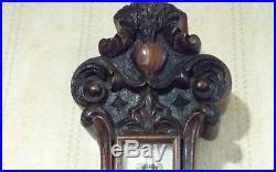 Antique Victorian Era English Dark Oak hand carved Aneroid Banjo Wall Barometer