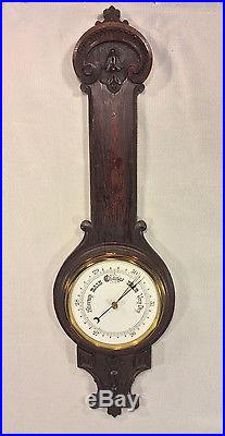 Antique Victorian Mahogany Barometer Weather Station Wood Case with Pressed On Det