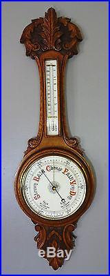 Antique Victorian Solid Oak Carved Aneroid Banjo Barometer Thermometer c1890