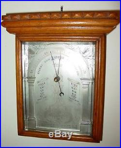 Antique Victorian very unusual oak cased aneroid wall barometer-15477