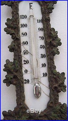 Antique Vintage European Metal Wolf Figure Thermometer Cast Iron