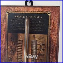 Antique Vintage Wood Barometer Brass Trim W. M. WELCH Scientific Chicago, Ill