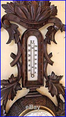 Beautiful Antique Wood Carved Barometer Thermometer Walnut 1890 Antiques