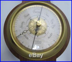 Antique Wittnauer Weather Station Brass & Wood Wall Barometer Thermometer yqz