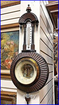 Antique Wood Carved Barometer Thermometer 1890