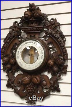 Antique Wood Carved Barometer Thermometer Signed Brevete Paris Black Forest
