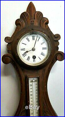 Antique Wooden Bonetfink & Co Cheapside London Banjo Clock/Thermometer/Barometer