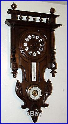 Antique Working 19th C French Victorian Walnut Barometer