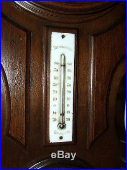 Antique Working 19th C. French Victorian Walnut Barometer Thermometer Wall Clock