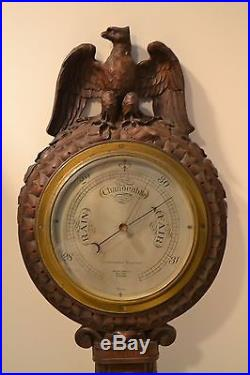 Antique barometer John Wamamakers of New York opticians c1900 Hand carved Eagle