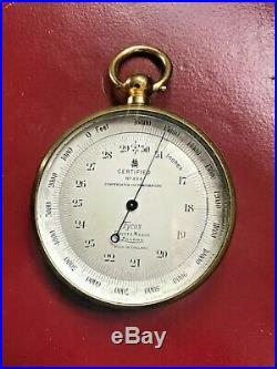Antique pocket barometer by Short & Mason