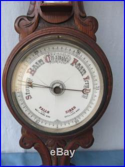 Antique very old England hand-carved Barometer weather station