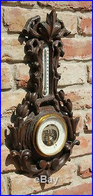 Antique weather station Germany wood carved black forest