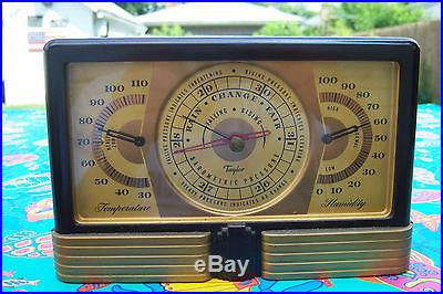 Art Deco Taylor Insturments Co. Weather Station Temp Barometer Humidity