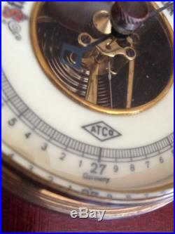 Atco Germany Mahogany Barometer Porcelain Face No. 1651 Antique Vintage Weather