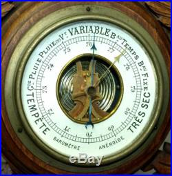 BEAUTIFUL 24 VINTAGE FRENCH CARVED WOOD BAROMETER THERMOMETER CL147