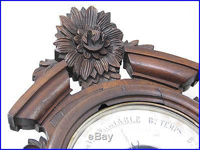 BEAUTIFUL ANTIQUE FRENCH CARVED BLACK FOREST BAROMETER