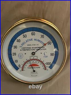BEAUTIFUL Vintage Abbeon Cal Inc Hygrometer Model HTAB-176 All Original Brass