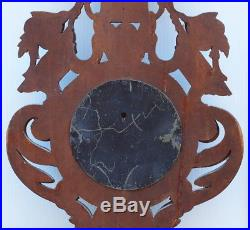 BEST Antique BAROMETER THERMOMETER Oak Wood Carved Black Forest 1890 SIGNED