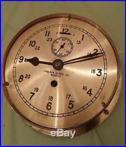 BOSTON CHELSEA SHIP'S BRASS without STRIKING CLOCK w Key. Working! Vintage